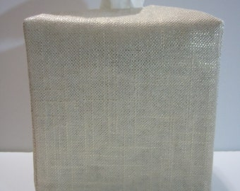 Ready To Ship -  Trophy Gold Metallic Linen  -  Fabric Tissue Box Cover