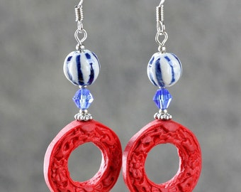 Red resin ceramic hoop earrings Bridesmaid gifts Free US Shipping handmade Anni designs