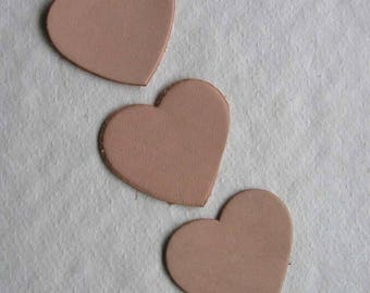 set of 3 hearts #18 leather