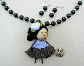 Darling Dolly's Night Out, Handcrafted Doll, Vintage Black Lucite/Pearl Glass Seed Beads, Doll Series,Necklace Set by SandraDesigns