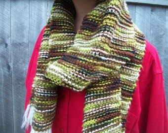 Soft Camouflage Scarf, Hand-knit Camo scarf, Greens and browns, well made, quality, lightly loved.