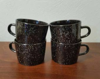 4 Stoneware Mugs - Black with White Specks - Japan