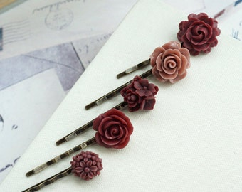 Burgundy Hair Pins, Wedding Hair Accessories, Bridal Hair Pins, Dark Red Maroon Hair Pins Bridesmaids Hairpins Gift Set Red Burgundy Wedding