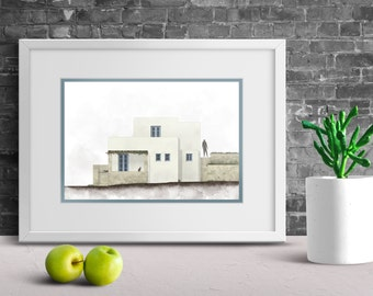 Greek Island Printable, House Portrait Painting, Gift For Architect, Greek  Home Decor,