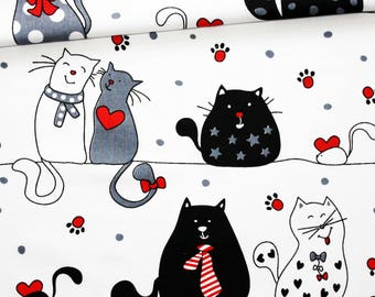 Cats, 100% cotton fabric printed 50 x 160 cm, cats on white background
