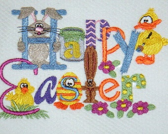 Happy Easter From All Of Us Embroidered Kitchen Towel