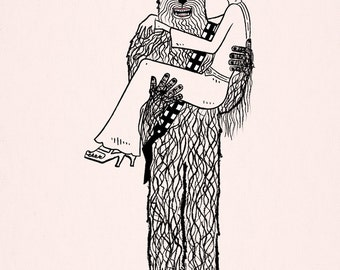 Chewy Finds a Girlfriend - Star Wars parody - funny humorous - light pink - drawing - illustration - Limited Edition Art Print