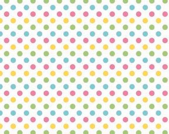 Girl Small Dots Fabric by Riley Blake Designs - Pink, Yellow, Green, Aqua - by the Yard - 1 Yard - C3350-03