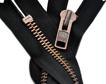 7 inch EXTRA HEAVY Antique Copper Finished yak Zipper# 10  Closed Bottom Color Black ~ ZipperStop Wholesale Authorized Distributor YKK®