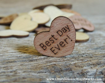 """100 Best Day Ever 1"""" Wood Hearts, Wood Confetti Engraved Love Hearts- Rustic Wedding Decor- Table Decorations- Small Wooden Hearts"""