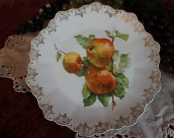 "Antique White Porcelain 9"" Plate with Apples and Gold Gilded Scalloped Rim"
