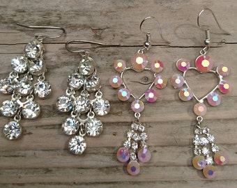 Two pairs of sparkly rhinestone earrings