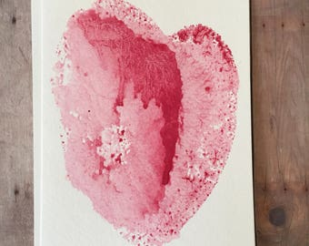 Watercolor Valentine Card, Hand Painted Heart Card, Valentines Cards