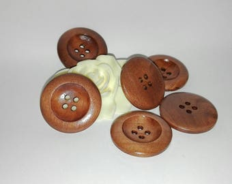 Set of 10 round buttons, 25 mm caramel colored wood