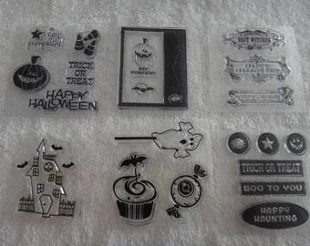 """Free Shipping!  Halloween Acrylic Stamps - 6 Stamps - Appear New - 2.5"""" x 2.5"""" - Card Making - Stamping - Scrapbook - CC2 - ML21"""