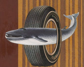 Whale & Tire Vintage Bookcover Collage-Original Art