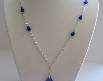 Handcrafted Silver Tone Chain with Faceted Blue Tear Drop Beads
