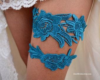 Wedding Garter, Teal Blue Garter, Bridal Garter, Blue Lace Garter, Bridal Garter Set, Something Blue, Wedding Garter Blue, Blue Garter Set