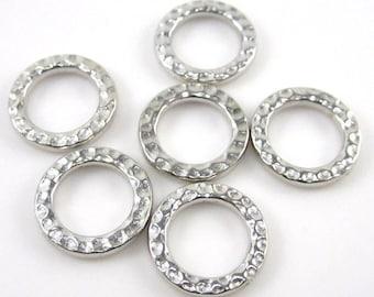 6 Silver Tierracast Medium Hammertone Rings