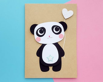 Panda Card | Kawaii Card Handmade | Personalised Panda Card | Cute Panda Card, Panda Birthday Cards, Kawaii Birthday Card | Cards for Her