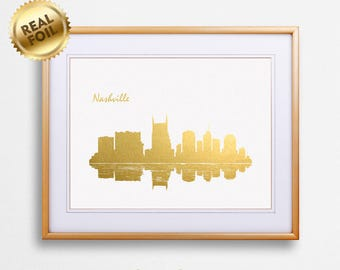 Nashville City Skyline Gold Print, Real Gold Foil Print, Nashville City Poster, Nashville Wall Art, Nashville City Print, GoldenGraphy