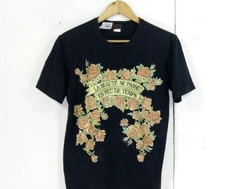 TAKEO KIKUCHI T Shirt Men/Women Medium Black Vintage 90's Japanese Designer Floral Amore Inferno Takeo Kikuchi Tee Shirt Size M