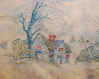 Dotted Houses, Trees, Blowing on White Cotton  Fabric bty