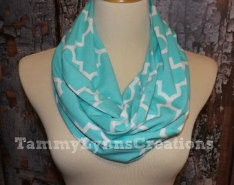 Quatrefoil Aqua Blue Infinity Scarf Lightweight Jersey Knit Soft Double Loop Scarf Women's Accessories