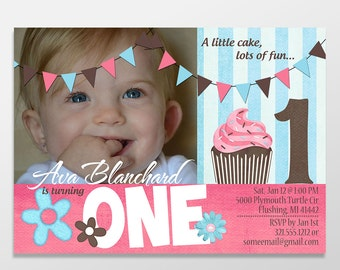 Cupcake Birthday Invitations, Girl Birthday, First Birthday Invites, Girl Birthday Invitations - PRINTED - PRINTABLE - Cupcake Birthday