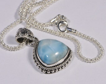 Larimar Pendant Sterling Silver Jewelry Natural LarimarJewelry Handmade Turquoise jewelry