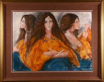 Three Faces of Eve pastel by artist Schoneberger
