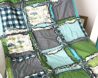 Vintage Cars Baby Boy Nursery Crib Size Rag Quilt - Gray / Green / Teal / Navy Blue Plaid