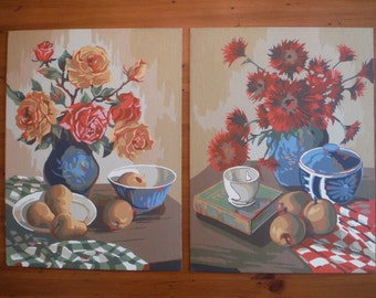 2 Vintage Floral Paint By Number Paintings - Flowers Still Life Paint By Number - Mid Century Decor Mod Roses Fruit Artwork Paintings