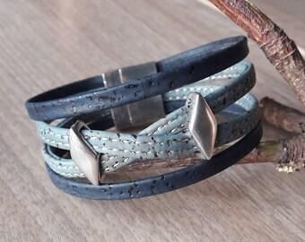 Vegan leather strap in blue Cork