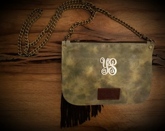 Leather Clutch, Evening Bag, Clutch, Personalized Leather Bag, Monogram Leather Bag,  Personalized Bag, Boho Leather Bag, Fringe Leather Bag