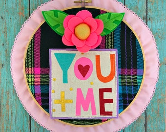 You + Me Valentine Hoop (pink)