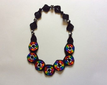 Crocheted Rainbow Circles and Black Squares Necklace with Beads