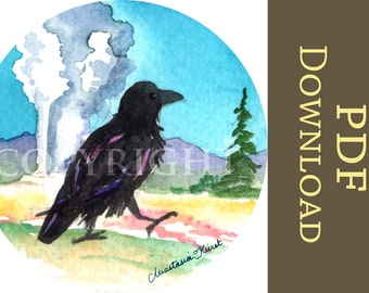 Yellowstone Raven INSTANT DOWNLOAD Digital Old Faithful, raven, crow, corvid, geyser, Yellowstone National Park PDF art print