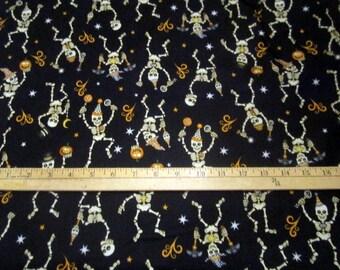 Creepy Hollow Dancing Skeletons Black premium cotton fabric from Dan Morris for Quilting Treasures