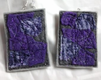 Purple and Gray Earrings