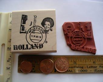 Holland  Millegom postmark postage stamp  Rubber stamp un-mounted scrapbooking rubber stamping journal