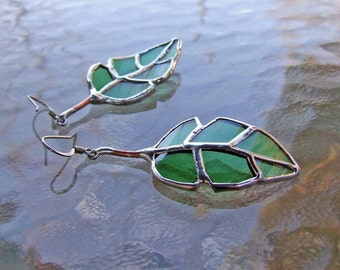 Recycled Green Glass - Elm Leaf Earrings - Mother's Day Gift - Mother's Day Jewelry - Eco Friendly Jewelry