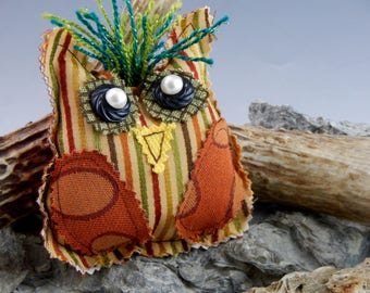 Recycled Upholstery Fabric Owl Soft Sculpture, Estella