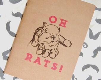 Oh! Rats Plain A4 Blank Book Animal Notebook Rat Sketchbook Handprinted Journal