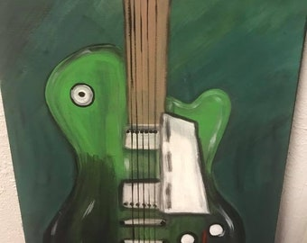 Green Guitar painting