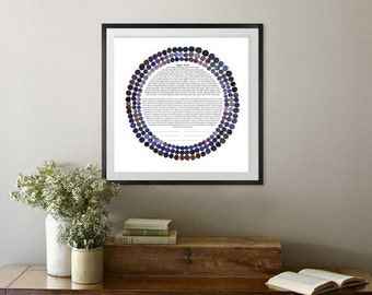 Three Rings Ketubah || Indicocoa || Jewish wedding contract illuminated wedding vows