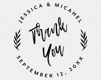 Custom Thank You Stamp, Wedding Favor, Self Inking Stamp, Wood Handle, Circle Stamp, Personalized, Floral, Whimsical, Tropical Stamp (T416)