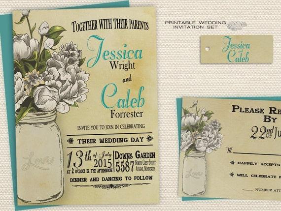 DIY Country Wedding Invitations Backyard Wedding Invitations