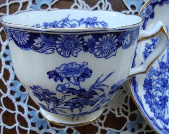"""Swansea """"Chatsworth"""" - Bone Chine Made in England - Vintage Tea Cup and Saucer - Blue Scroll and Floral"""