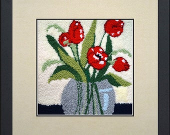 Silk painting of flowers in red